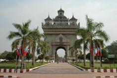 The Patuxai in Vientiane is a reminiscent of the Arc de Triomphe in Paris.