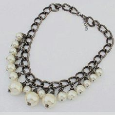 Statement Pearl Bib Necklace Gun metal finish alloy with faux pearls. Jewelry Necklaces