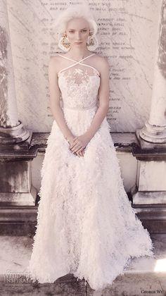 george wu 2016 bridal gowns sleeveless cross strap sweetheart neckline lace bodice feather skirt romantic a line wedding dress (seneca) mv