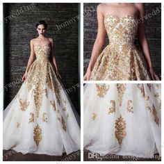 Vestido De Noiva 2015 Glamorous Gold Lace Applique Beads White Organza A Line Floor Length Sleeveless Wedding Dresses Bridal Gowns Informal Wedding Dress Low Cost Wedding Dresses From Honeywedding, $217.81| Dhgate.Com