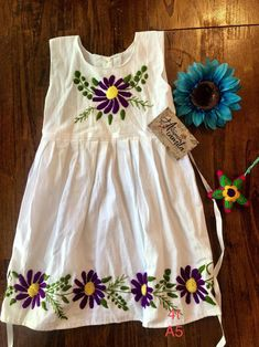 Girls Mexican Dresses Hand embroidered Size true to size Measurements wide long Aprox. Girls Frock Design, Baby Dress Design, Kids Frocks Design, Baby Girl Dress Patterns, Baby Frocks Designs, Girls Dresses Sewing, Stylish Dresses For Girls, Frocks For Girls, Little Girl Dresses