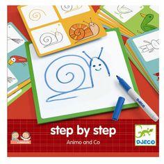 Djeco Eduludo Step by Step Zeichenschule Tiere, für Kinder von 3 - 6 Jahren - Bonuspunkte sammeln, Kauf auf Rechnung, DHL Blitzlieferung!