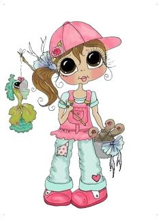 """Photo from album """"Sherri Baldy"""" on Yandex. Colouring Pages, Coloring Books, Image Digital, Copics, Whimsical Art, Cute Dolls, Digital Stamps, Illustrations, Big Eyes"""