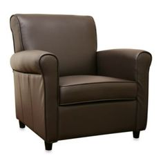 Full Leather Club Chair in Brown - BedBathandBeyond.com