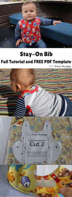 Stay-On Bib with full tutorial and FREE PDF template | Easy Sewing for Beginners