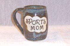 SPORTS MOM Mug Ceramic Coffee Cup Earthy Blue by ClaycrazyPottery,