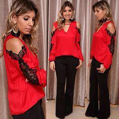 @boutiquedonacota - Calça flare de piquet preta#Blusa de viscose com detalhe aberto na manga em guipir preta#Dona Cota - igbox instagram web viwer