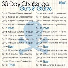 30 day challenge - I'd have to lower the reps for some of these moves, but I like that it's the same two moves for every 4 day interval then it changes to two different ones.