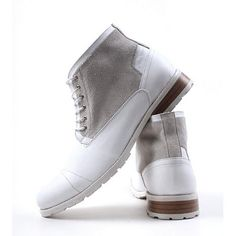 White Leather Lace Up Dress Winter Ankle Boots Fashion Men Discount  SKU-1100016