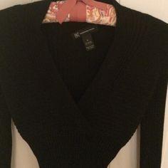 Inc black fitted v-neck sweater Inc, black rayon nylon fitted v-neck sweater. Runs small! INC International Concepts Sweaters V-Necks
