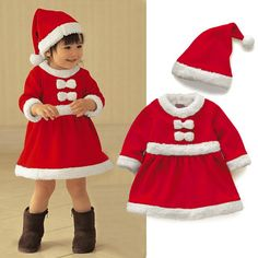 hot sale high quality Kids Gilrs Santa Claus Costume Xmas  Fancy Dress Children Christmas Party Dress with Cap Hat #KS0072