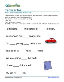 "Grade 1 vocabulary worksheet ""to too two"""