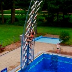 Cool rock climbing wall at pool