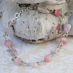 Pink and Purple Bead Anklet, Wire Wrap Pink and Purple Anklet, Delicate Pink and Purple Anklet, Summer Jewelry