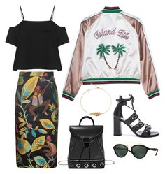 """""""Island Life"""" by junglover ❤ liked on Polyvore featuring Christian Siriano, T By Alexander Wang, Yves Saint Laurent, Alexander McQueen and Ray-Ban"""