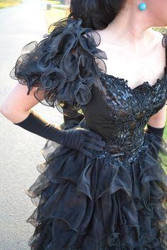 VINTAGE Satin chiffon Cascading tiered ruffles STEAMPUNK dress ball gown $199