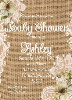 rustic baby shower invitations burlap baby shower invitation baby shower custom printed invitations