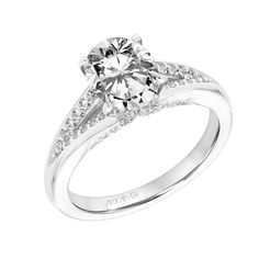 New for our Spring collection! Amity: Classic Diamond Prong Set Engagement Ring with Split Shank and Surprise Diamonds #artcarvedbridal #spring #whitegold #engagementring