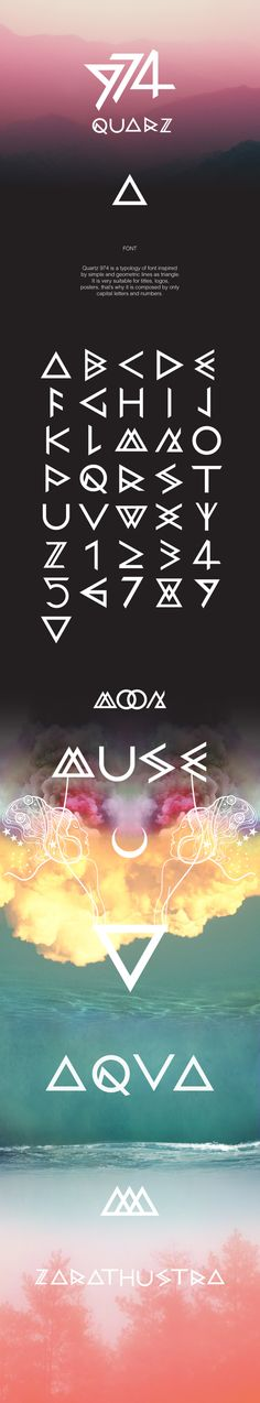 QUARZ 974 by Domenico Ruffo, via Behance , font , typography , triangle , poster , geometric , decorative