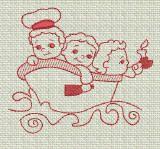 ZDBJJ174-5 Nursery Rhymes Redwork-Single
