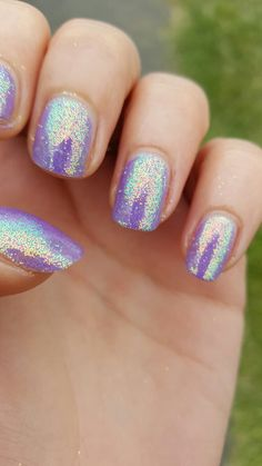 Cnd Shellac Lilac Longing with Lecente Capri glitter. Loooove this!