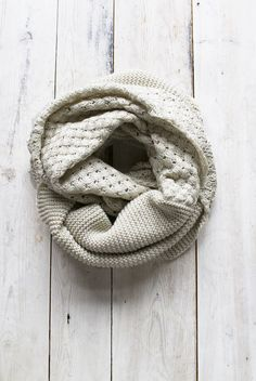 This item is Final Sale. Warm double knit infinity scarf with crosshatch knit on one side and tight knit on the other. - 100% Acrylic - Spot clean only - Color: Burgundy, Navy or Cream - Imported - SK