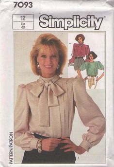 MOMSPatterns Vintage Sewing Patterns - Simplicity 7093 Vintage 80's Sewing Pattern CHARMING Vertical Pleats Modest Pussy Bow Tie Collar Suit Blouse Set Size 12 Simplicity Sewing Patterns, Vintage Sewing Patterns, Clothing Patterns, Bow Blouse, Fashion Project, Drawing Clothes, Future Fashion, Beautiful Patterns, Women