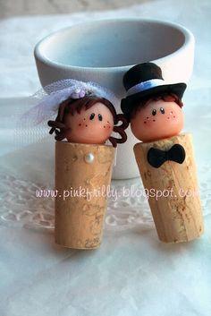wine cork bride & groom: