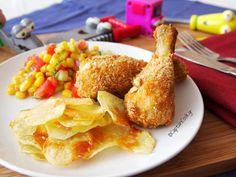 Captain Cook: Τραγανά Κοπανάκια Κοτόπουλο με Πατατάκια Φούρνου