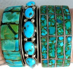 VINTAGE OLD PAWN BLUE AND GREEN TURQUOISE SILVER ROW CUFFS