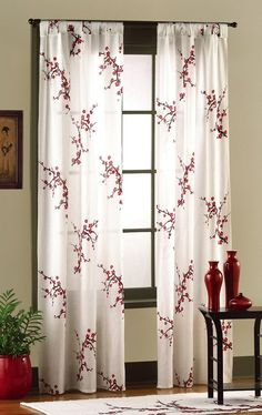 quite nice 9e404 f4abb Amazon.com  Asian Bedroom Cherry Blossom Curtain Panel Set By Collections  Etc  Home
