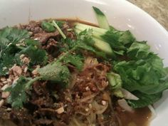 Hủ tíu sátế Wet noodle beef satay with roasted peanuts, lemon grass, ground dried shrimp pho rice noodle and bean sprouts Photo taken at Mui Ngo Gai by Patrick S. on 10/27/2012