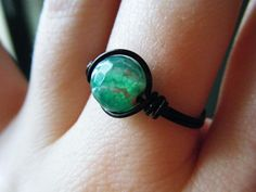 Green Crackled Agate Ring  Black Wire Wrapped  Made by JbellsGems, $8.00