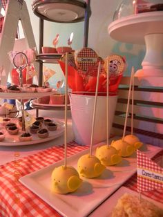 Chick Cakepops at a Farm Party #farmparty #cakepops cute idea for Easter