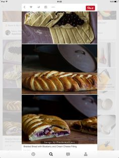 Braided Bread with Blueberry and Cream Cheese Filling(Baking Treats Gifts) Just Desserts, Delicious Desserts, Dessert Recipes, Yummy Food, Braided Bread, Blueberry Recipes, Sweet Bread, Love Food, Food And Drink