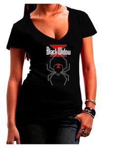 Black Widow Spider Design - Logo Juniors V-Neck Dark T-Shirt - Black - Large