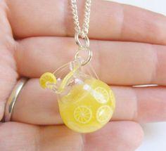 Lemonade Miniature Pendant Necklace - Miniature Food Jewelry,Handmade Jewelry,Mini Food Jewelry on Etsy, $27.24
