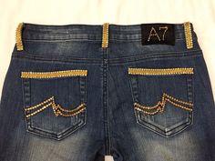 A7 Embellished Bling Jeans Womens Skinny Stretch Swarovski Gold Crystal Low Rise #A7 #SlimSkinny