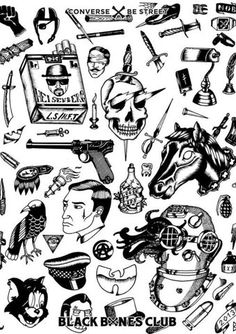 Converse x Be Street - Black Bones Club Contest Artwork by Baptiste Dauger Kritzelei Tattoo, Doodle Tattoo, Poke Tattoo, Dark Tattoo, Torso Tattoos, Body Art Tattoos, Sleeve Tattoos, Arabic Tattoos, Black Tattoos