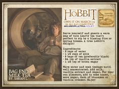 Bag End Milk Tea (Already knew this, but I just love having things associated with Tolkien!!)
