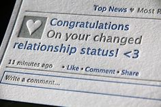 letterpressed Facebook status Relationship Card by Kiss and Punch Designs #letterpressed #stationery #facebook_status #design ETSY SHOP http://www.etsy.com/shop/kissandpunch?ref=em http://www.feltandwire.com/2011/08/25/p-s-elegant-stationery-returns-per-the-wall-street-journal/