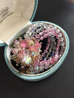 VENDOME VINTAGE BRACELET Pink glass stone by carinasFantasyJewels