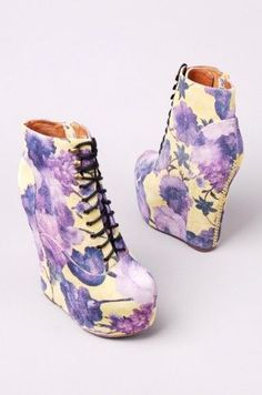 Jeffrey Campbell - Damsel Lace Up Platform Bootie in Yellow Purple Floral Soft Grunge, Style Grunge, Galaxy Converse, Dream Shoes, Crazy Shoes, Platform Ankle Boots, Shoe Boots, Cute Shoes, Me Too Shoes