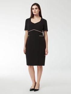 Marina Rinaldi DUNA black: Figure-hugging dress with seams.