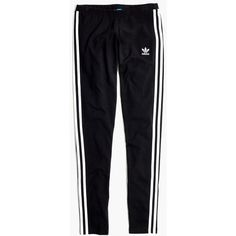 MADEWELL Adidas® Originals 3-Stripes Leggings (45 CAD) ❤ liked on Polyvore featuring pants, leggings, bottoms, jeans, true black, striped trousers, stretch trousers, striped pants, striped stretch pants and striped leggings