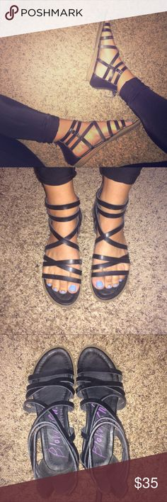 Black gladiator sandals All black gladiator sandals. I believe real leather, very nice material all around. Super comfortable and in great condition. They go with everything and are perfect for spring/summer. Love these but I have too many sandals! Blowfish Shoes Sandals