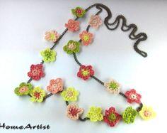 CROCHETED FLOWERS NECKLACE, various color tones crochet
