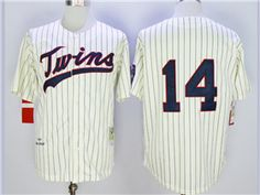 c0a7d3f791e Minnesota Twins  14 Kent Hrbek 1969 Throwback Cream Pinstripe Jersey  Minnesota Twins
