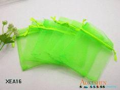 50 stuks 7*9cmnew mode lichtgroen koord candy organza zakje huwelijkscadeau zakken xmas pakket verpakking verpakking zak