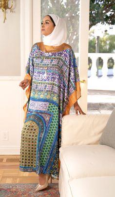 Jamila Formal Kaftan Abaya Dress-Blue   Modest Kaftan Dress   Artizara – ARTIZARA.COM Modest Dresses, Blue Dresses, Kaftan Abaya, Muslim Dress, Abayas, Embroidery Dress, Sheer Fabrics, Cut And Style, Dress Making